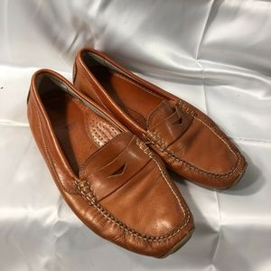 LL Bean Leather Driving Moccasins Burnt Orange 9.5